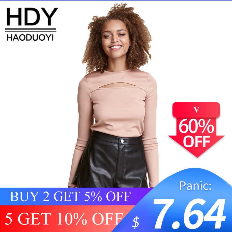 HDY Haoduoyi, черные сексуальные открытые базовые Топы, женские элегантные тонкие футболки с длинным рукавом, женская розовая винтажная Короткая Повседневная футболка