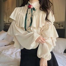 Ruffles Chiffon Shirt For Women Stand Collar Patchwork Lantern Sleeve Large Size Blouse Female 2019 Autumn Vintage With Flower