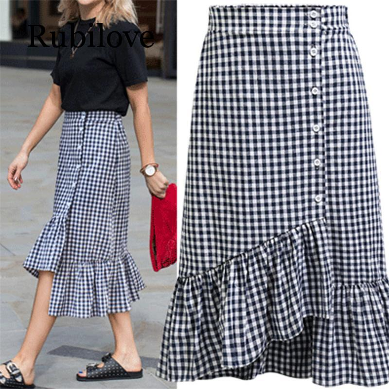 Rubilove New Fashion Spring Summer Ruffled Skirts Women Black White Plaid Midi Long Skirt High Waist Cotton A-line Club We