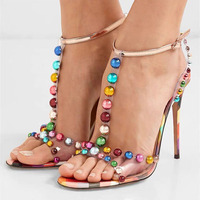 New Candy Color Beaded Sandal PVC Party Shoes Women Open Toe T strap Thin High Heels Ankle Buckle Strap Stilettos Sandals Women