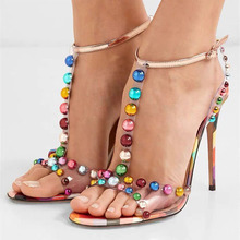 New Candy Color Beaded Sandal PVC Party Shoes Women Open Toe