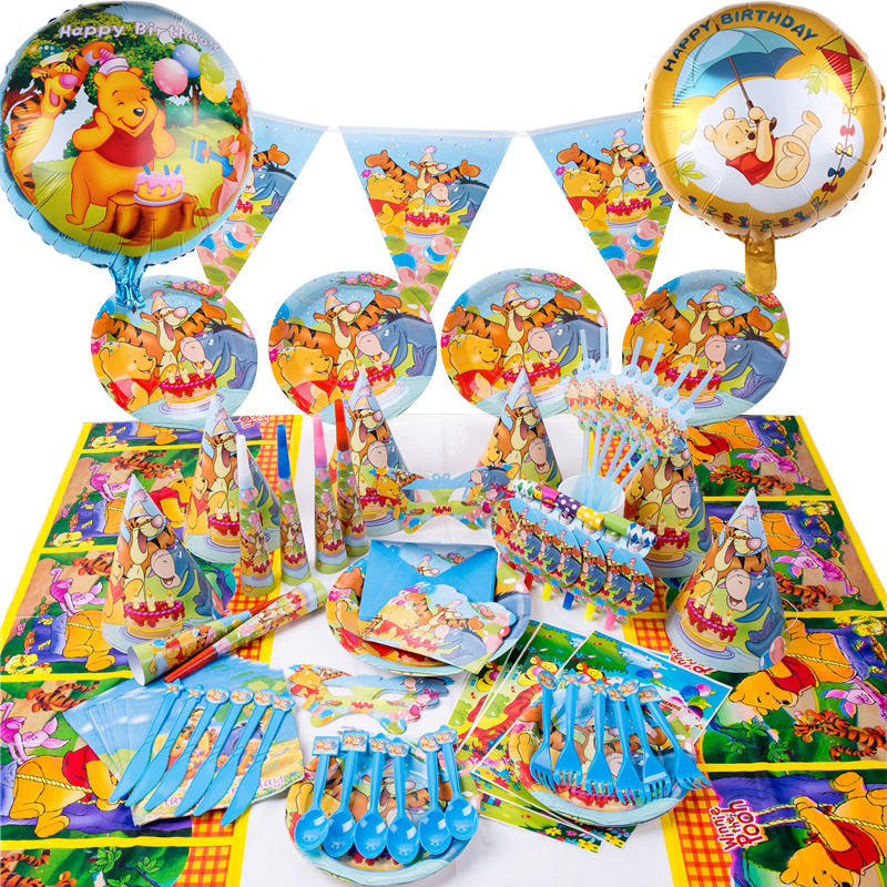 Winnie The Pooh Kids Birthday Party Decorations Disposable Tableware Paper Napkins Cup Plates Baby Shower Kids Party Supplies