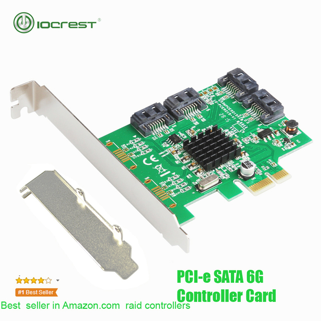 Iocresto placa de controle pcie 4 portas, 6g sata iii 3.0 cartão sem raid marvell 88se9215 expansão pcie 2.0x1 suporte de baixo perfil do cartão
