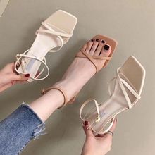 цены 2019 Fashion Brand Women Sandal New Summer Sexy High Heel Open Toe Gladiator Sandal Women Narrow Band Buckle Strap Dress Shoes