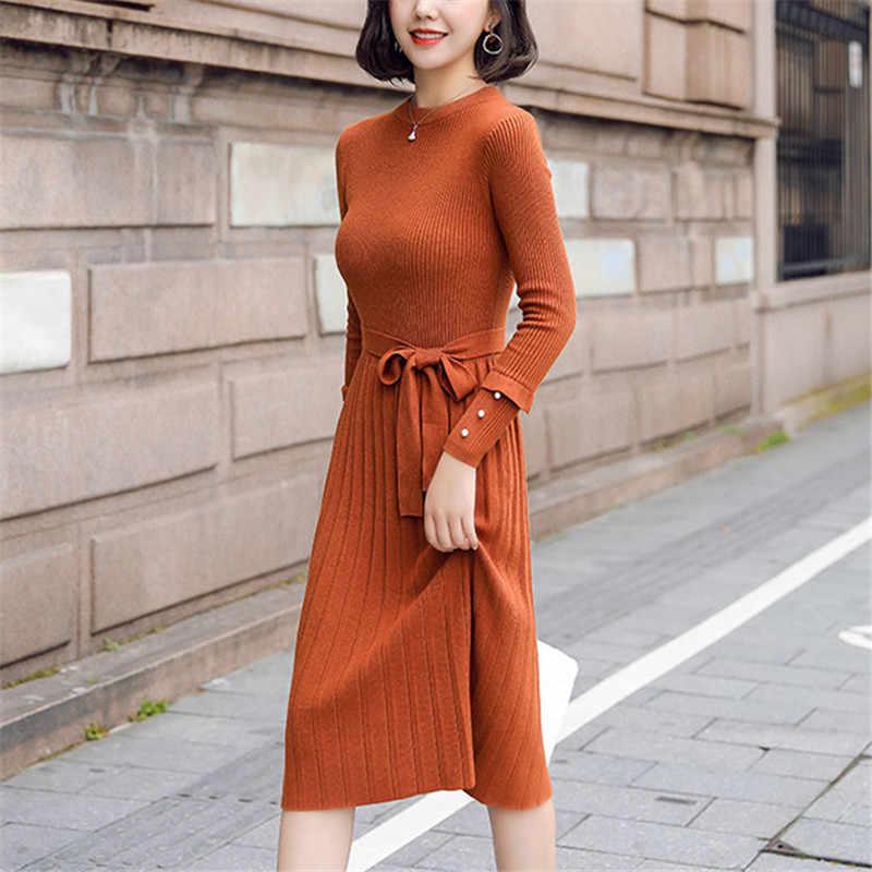 Однотонное зимнее вязаное платье с круглым вырезом и длинным рукавом в стиле Харадзюку; осеннее женское элегантное платье; Новинка 2019 года; Модная тонкая мягкая женская одежда