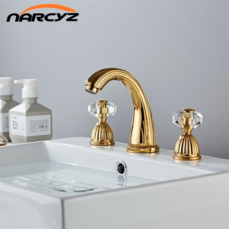 Basin Faucets Gold Brass Modern Bathroom Sink Faucet Double With Drill Handle 3 Hole Bathbasin Counter Mixer Taps Xr8260 Special Promo Bf1c4 Goteborgsaventyrscenter