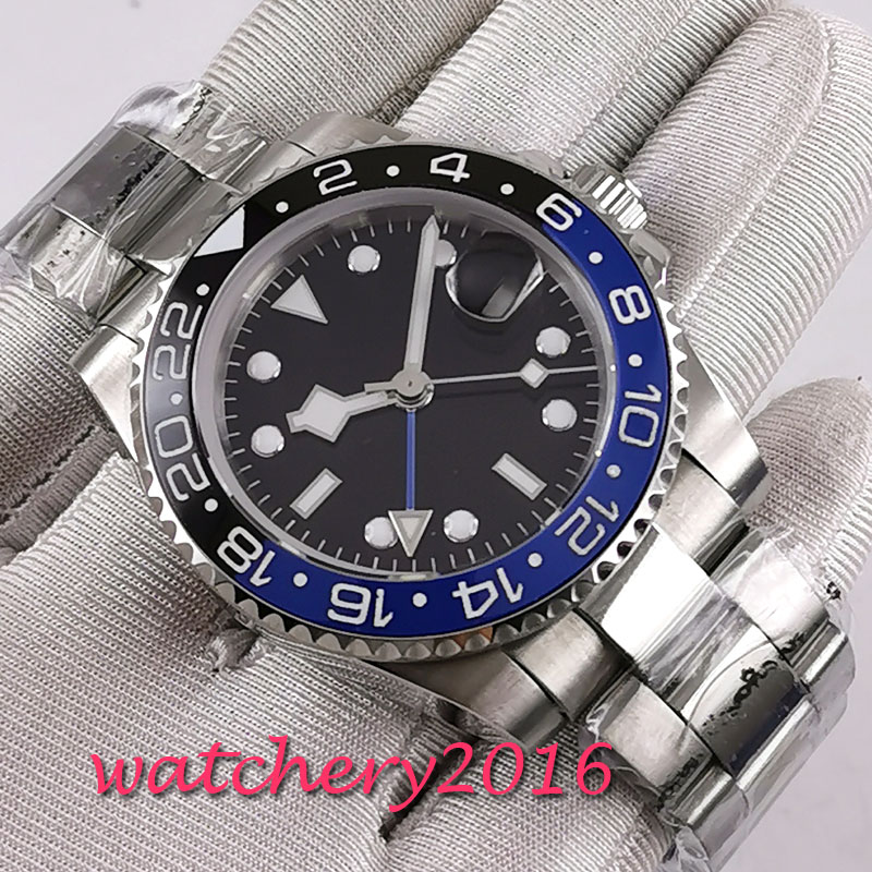 Free Shipping 40mm classic Black dial Sterile luminous makrs GMT Sapphire Glass automatic movement Mechanical Watch