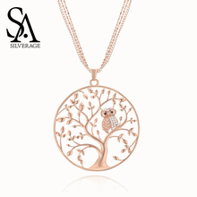 SA SILVERAGE Zircon Animal Owl Necklace Creative Circle Hollow Life Tree of European American Personality