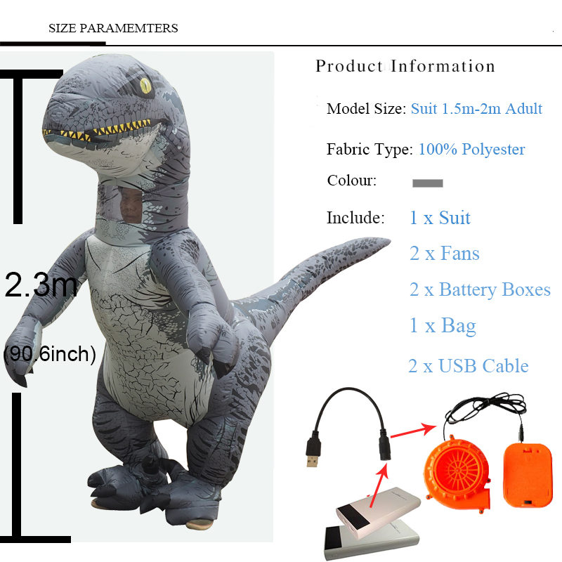 Jurassic World Adult Velociraptor Costume Inflatable T REX Raptor Costume Cosplay Dinosaur Party Halloween Costume for Women Men