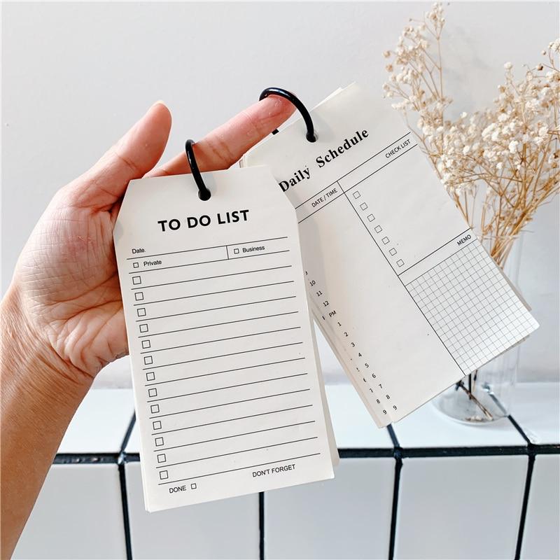50 arkuszy Ins czarno-biały notatnik Diy prosty styl pierścieniowa klamra typ notatnik Do zrobienia lista studentów pamiętnik harmonogram papeterii