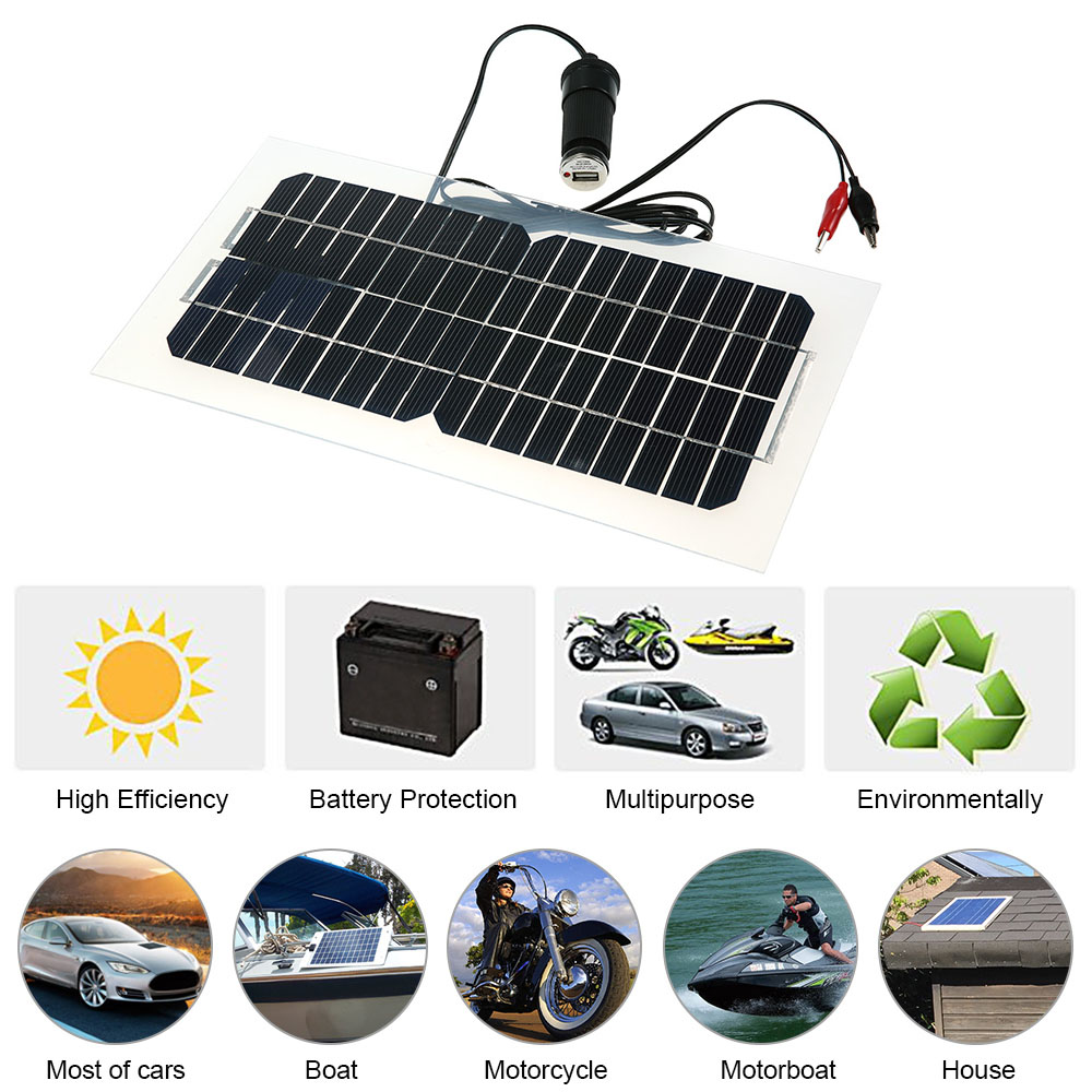 Hot New 18V 5.5W Semi Flexible Solar Panel With <font><b>Cables</b></font> For outdoor <font><b>Car</b></font> <font><b>Battery</b></font> Motorcycle <font><b>Battery</b></font> Charging Styling image