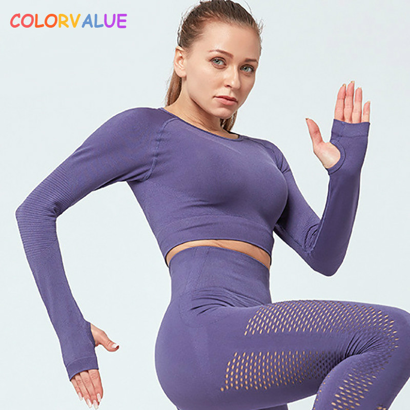 Colorvalue Seamless Plain Running Sport Crop Tops Women Stretchy Slim Fit Workout Fitness Long Sleeved Shirts With Thumb Holes