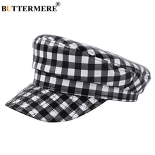 BUTTERMERE Ladies Black White Plaid Military Cap Autumn Winter hats For Women Leather Baker Boy Hat Female Army