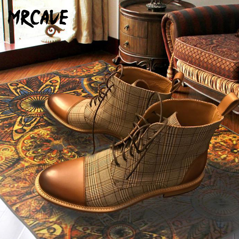 MRCAVE Men Boots Plaid Lace Up Boots Basic Male Winter Spring Ankle Boots Fashion Man Round Toe Booties Fashion British Style