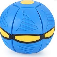 Boule de déformation plate en forme de soucoupe volante, jouet brillant d'extérieur, boule rebondissante avec lumière, jouet d'extérieur bleu