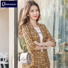 2020 British style plaid blazer women's middle sleeves slim casual shorts suit