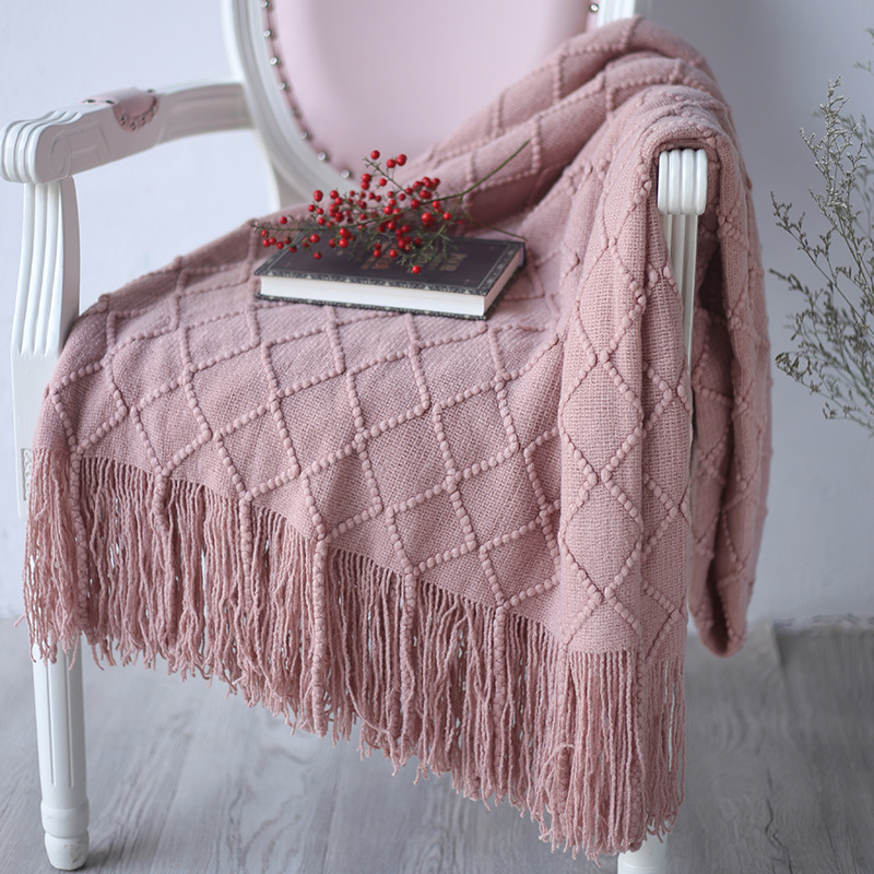 Pink 127*170cm Knitted Soft Knit Luxury Throw Blanket Sofa Chair Home Decoration Textile Blanket Baby Children Bedding Use-0