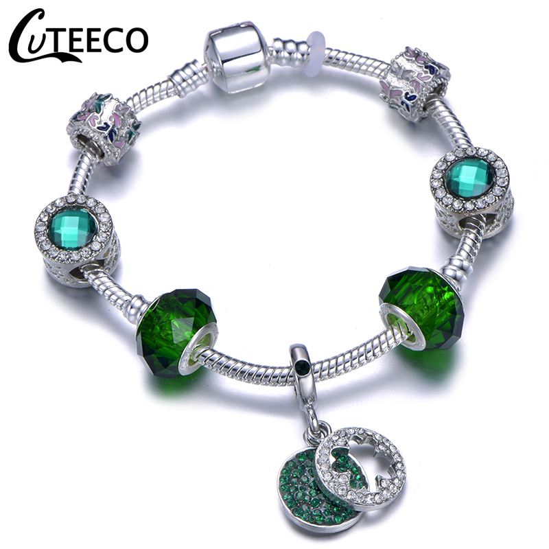 Hfeae357599e3464ba74bdaf06272296d9 - CUTEECO Antique Silver Color Bracelets & Bangles For Women Crystal Flower Fairy Bead Charm Bracelet Jewellery Pulseras Mujer