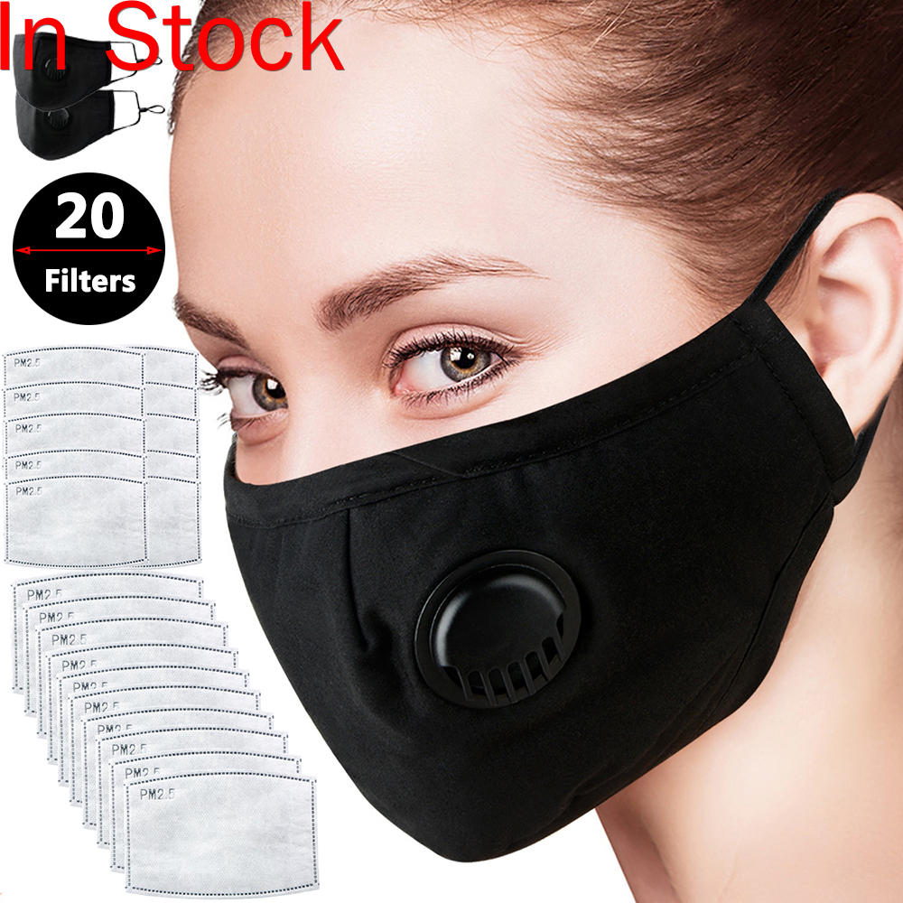New Cotton Face Mouth Cover Anti Haze Reusable Double Layer Respirator Dustproof Mouth Muffle Masque Pm2.5 Filter Black