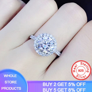 YANHUI Luxury 1 Carat Simulated Moissanite Rings for Women Zircon CZ Engagement Wedding Fine Jewelry 925 Sterling Silver Rings moonso a pair luxury genuine 925 sterling silver rings for women wedding engagement jewelry lr236s