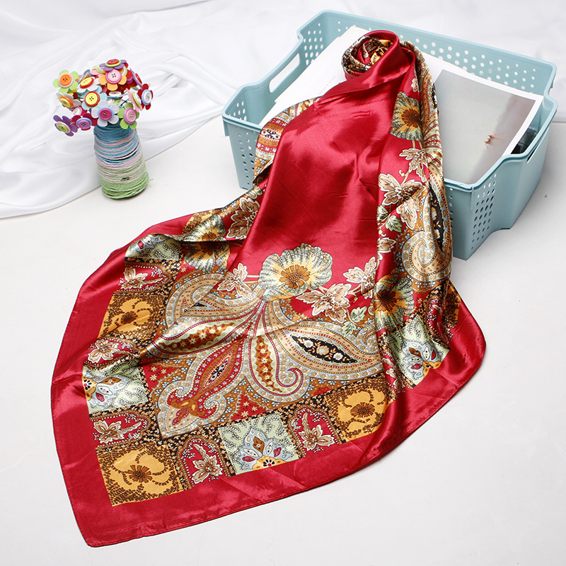 Square Scarves Women Chain Print Sunscreen Silk Scarf Female Satin Long Dual-use Shawl Beach Towel Shawl Cashew Face