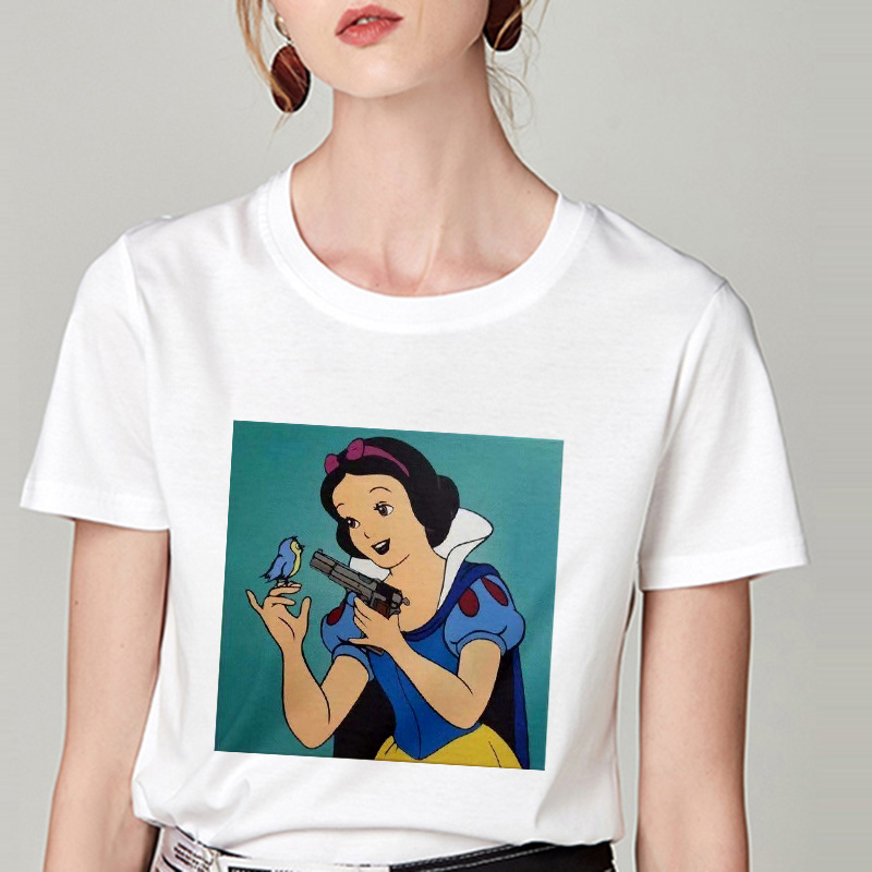 Summer Tshirt Snow White Fun Fashion Printed T-shirt Spoof Personality Harajuku Funny Casual Thin Section T Shirt Women Clothing 10