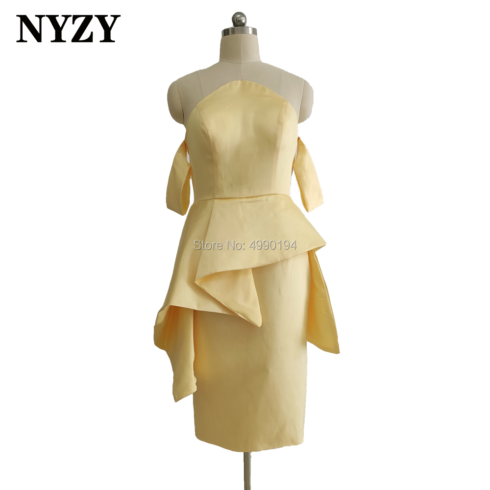 Satin Yellow Short Bridesmaid Dresses NYZY B2  Formal Dress For Wedding Party Cocktail Evening Homecoming