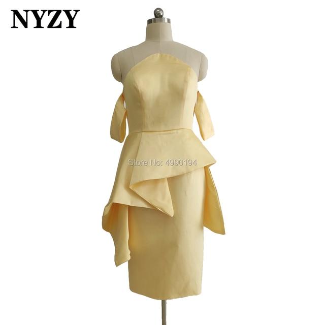 Satin jaune robes de demoiselle dhonneur courtes NYZY B2 robe formelle pour la fête de mariage Cocktail soirée retour à la maison