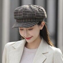 New autumn and winter beret women's woolen Korean version of the Japanese warm net red British navy octagonal hat