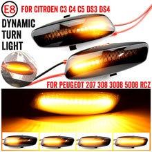 Luces led dinámicas de posición lateral para Citroën, luz intermitente de señal de giro de 12V, para Citroën C3, C4, C5, DS3, DS4, para Peugeot 207, 308, 2 uds.