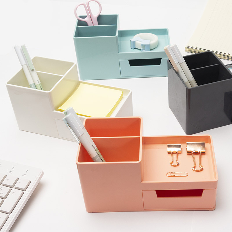 Multifunction Plastic Pen Holder Desktop Storage Box Stationery Organizer With Drawer Office Accessories School Supplies