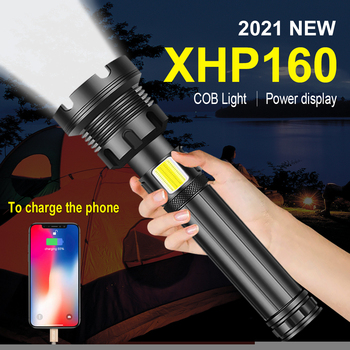 XHP160 COB Led Flashlight 18650 or 26650 Usb Tactical Flash Light XHP70.2 Rechargeable Led Lantern Zoom Hunting Bright Work Lamp 1