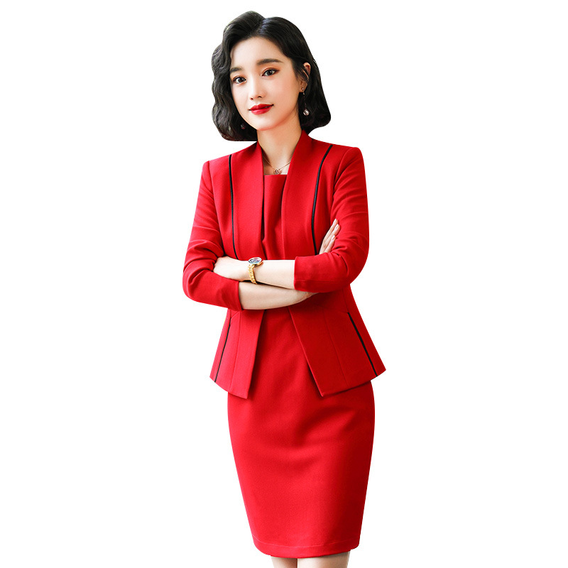 Black Red Female Elegant Woman's Office Blazer Dress Jacket Suit Ladies Office Wear Sets Costumes Business Dresses 2piece Set