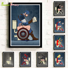 Anime Superman Superhero Wall Art Canvas Painting Toilet Spiderman Nordic Poster Pictures For Living Room Lavatory Unframed