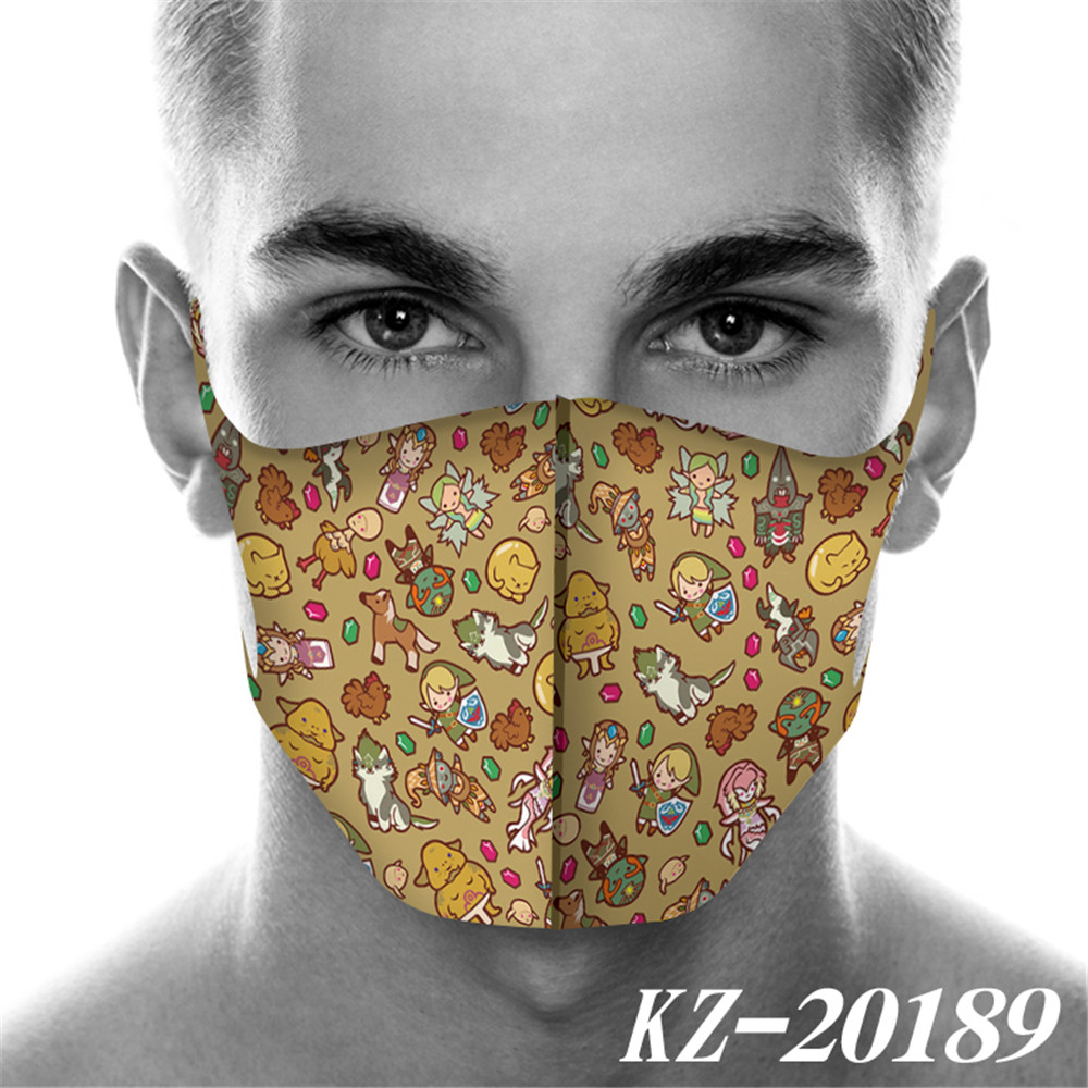 Full Printed Cartoon The Legend Of Zelda Mouth Mask Breathable Face Mask Reusable Anti Pollution Wind Proof Mouth Cover