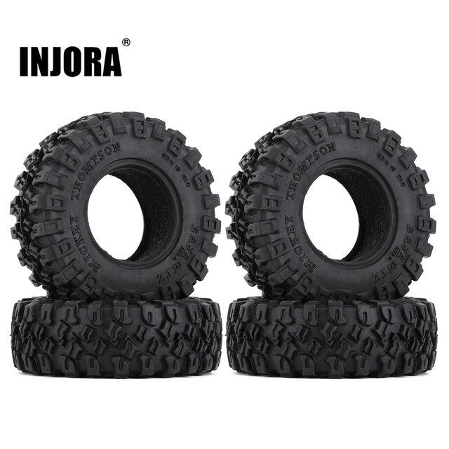 """INJORA 4PCS 1.0"""" All Terrain Soft Rubber Wheel Tires 52*17mm for 1/24 RC Crawler Car Axial SCX24 90081 AXI00001 Deadbolt 1"""
