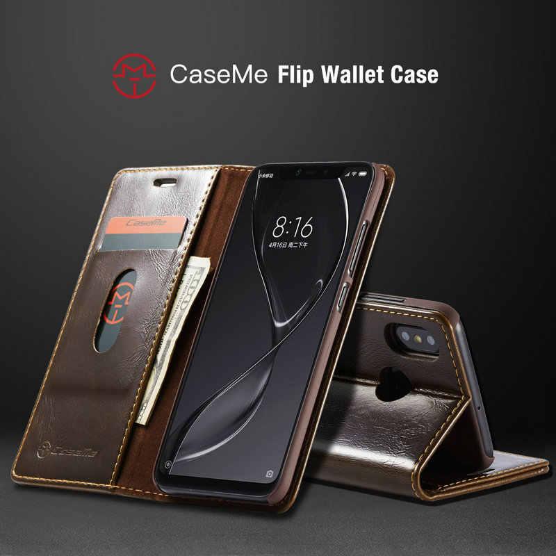 Ngựa Điên Folio Từ PU Ví Da Ốp Lưng Điện Thoại Xiaomi 8 A2 Lite Redmi Note 6 Pro 6A Bao lật Túi Đứng Ốp Lưng