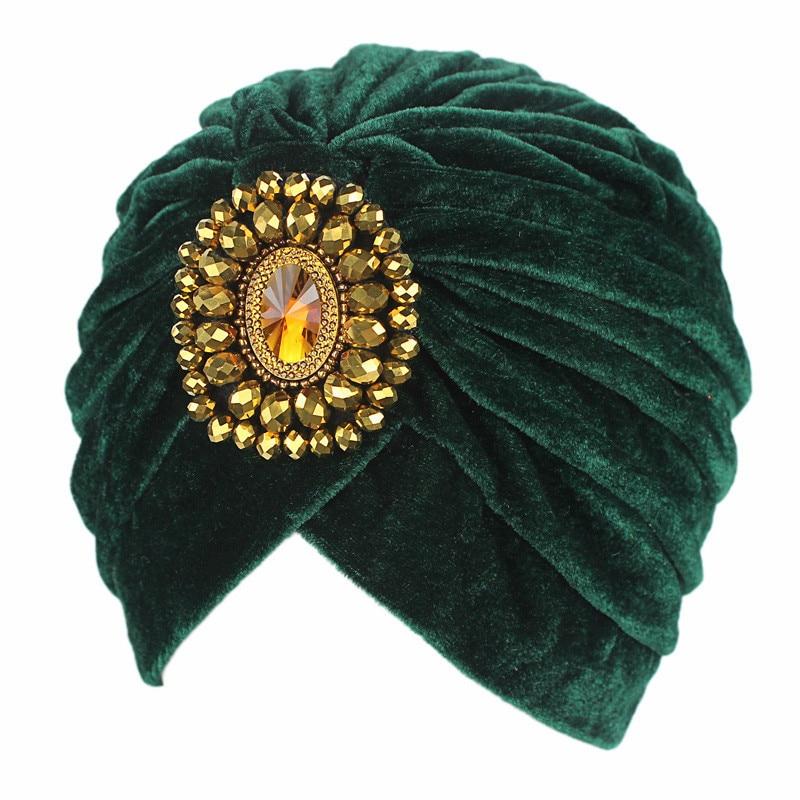 Velvet Solid Color Crystal Stretch Turban Ruffle Hair Hats Beanie Bandanas Scarf Head Wrap Headwear For Women 16