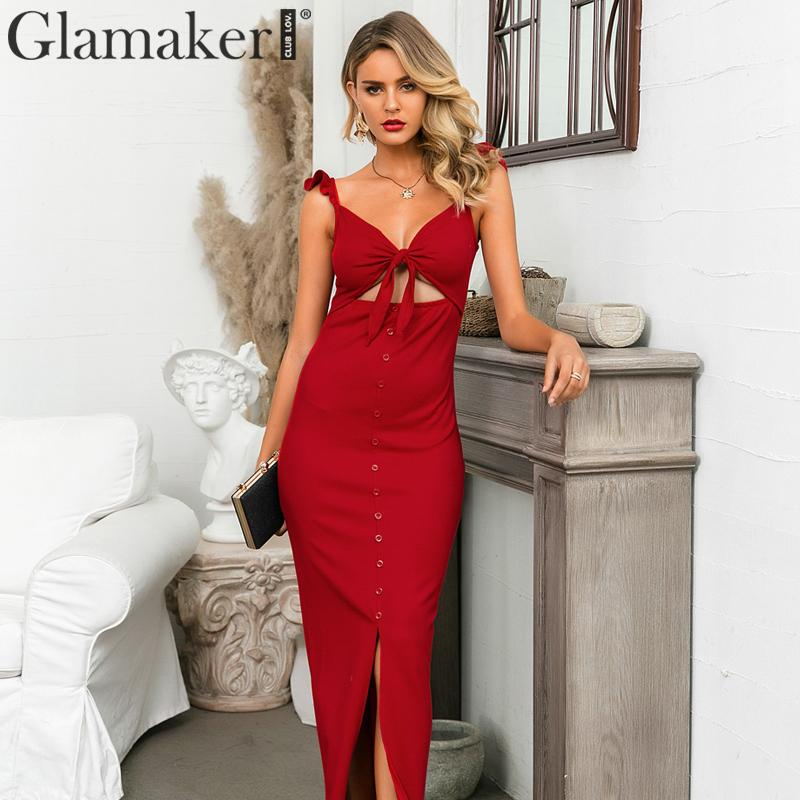 Glamaker Red Knitted Vintage V Neck Sexy Dress Hollow Out Twist Buttons Elegant Women Dress Autumnwinter Female Party Long Dress