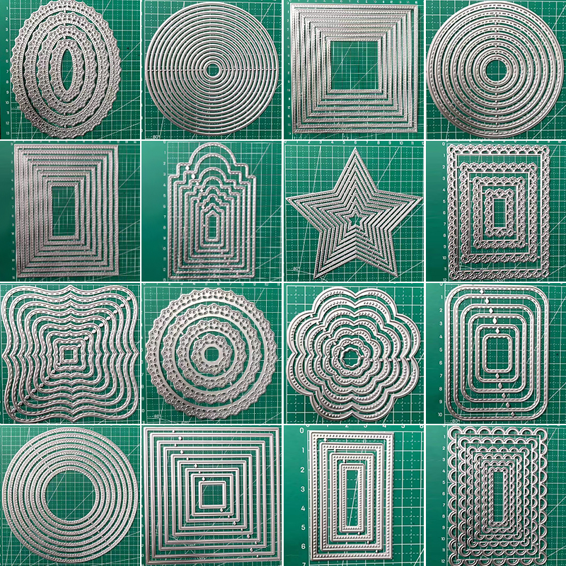 NEW Frames Square Card Curves Border Making Scrapbooking Dies Metal Crafts Layering Metal Cutting Dies Greeting Card Handmade