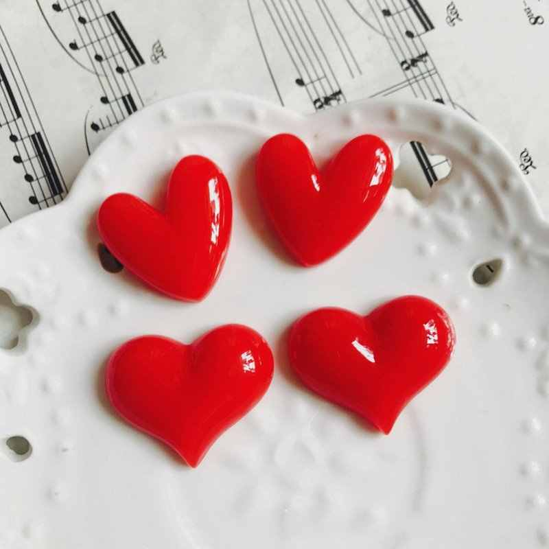 Imanes de resina rojos en forma de corazón para nevera accesorios DIY Decoración Para refrigerador