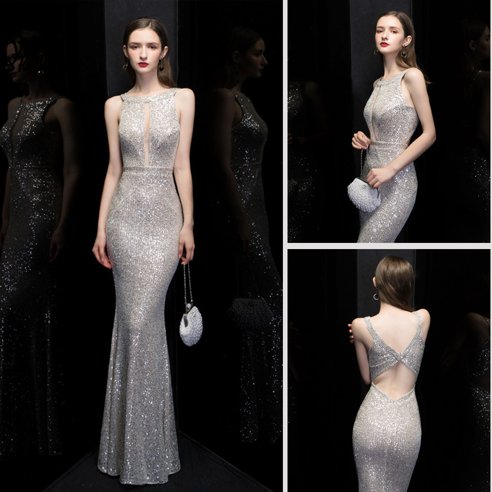 Skyyue Formal Dress Sleeveless Halter Collar Sequined Robe De Soiree K099 Backless Solid Plus Size Women Party Dresses