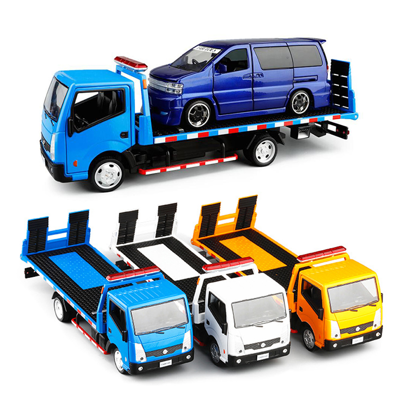 3 Colors New Arrival  1:32 Scale Trailer Car Truck Toy Tractors Model Platform Alloy Trailer Kids Toys With Box V087