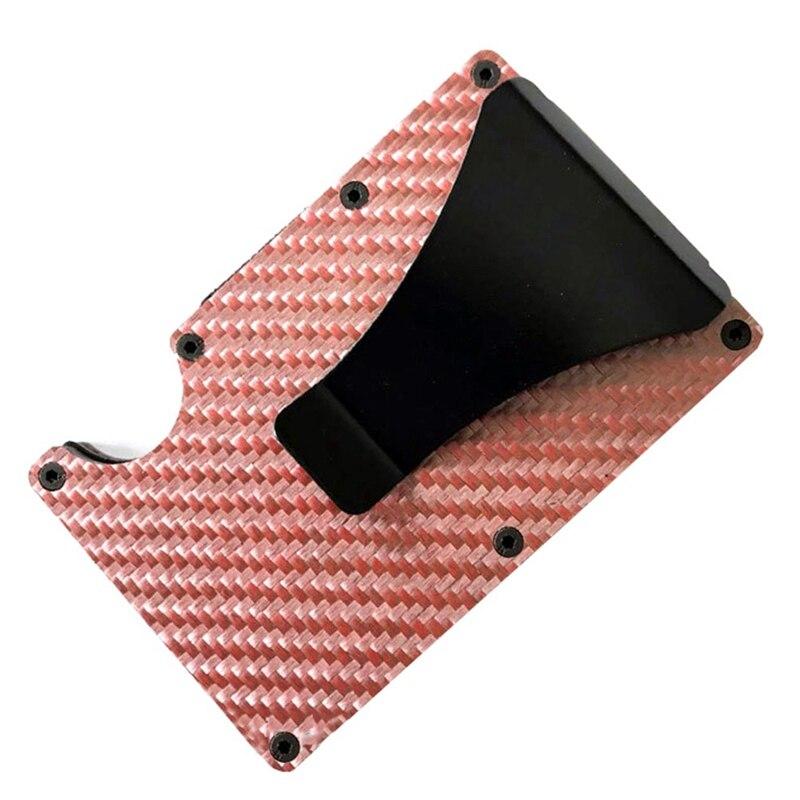 Новая мода Тонкий карбоновый держатель для кредитных карт RFID несканирующий металлический кошелек мужской Прямая - Цвет: PK