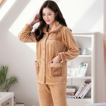 Pajamas Set Women Pyjama Flannel Sexy Warm Femme Plush Thick Sleepwear 2Piece/Set Mom Print Homewear Clothes Plus Size - discount item  37% OFF Women's Sleep & Lounge