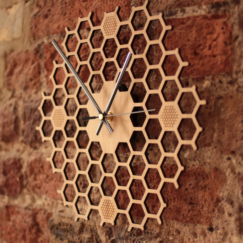 Non Ticking Minimalist Bamboo Honeycomb Durable Bee Gift Wall Clock Home Decor Silent Sweep Kitchen Contemporary Hexagonal