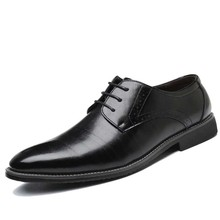 Men's Brand Leather Formal Shoes Lace Up dress shoes Oxfords Fashion Retro Shoes Elegant work Footwear Drop Shipping new brand designer leather shoes lace up famous shoes big eyes embellished patchwork shoes wholesale drop shipping