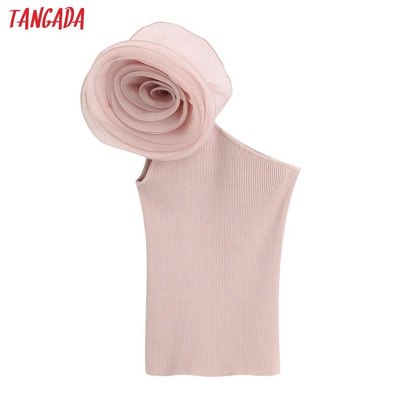 Tangada Women One Shoulder Off Rose Mesh Patchwork Shirt Blouse Sleeveless Sexy Slim Shirt Tops BE523