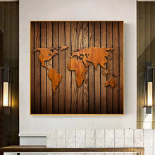 A Map of The World Retro Old Art Canvas Paintings Posters Prints Wall Art Picture for Living Room Home Decoration Cuadros