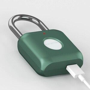 Image 3 - Youpin USB Rechargeable intelligent sans clé électronique serrure dempreintes digitales maison antivol sécurité cadenas serrure de fixation rétractable et mécanisme dattache de sécurité de porte